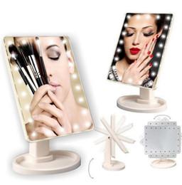 составлять степень Скидка Макияж LED зеркало 360 градусов вращения сенсорный экран макияж косметический складной портативный компактный карман с 22 светодиодные зеркало для макияжа KKA2635