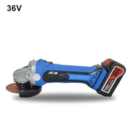 Wholesale angle machine - Free Shipping 36v Cordless Angle Grinder Rechargeable Grinding Machine Battery Polishing Cutting Grinding Sanding Tool 2PCS Lithium Battery