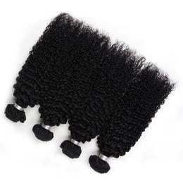 Монгольские кудрявые вьющиеся волосы онлайн-Малайзийские волосы 4 Bundle Kinky Curly Virgin Hair Grade 10A Монгольская кудрявая кудрявая плетеная необработанная 100% человеческие волосы Продукт