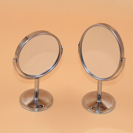 Wholesale Silver Makeup Compacts - Round Silver Makeup Cosmetic Portable Compact Desktop Stand Mirror Double Sided 1X  2X Magnifying Beauty Mirrors Free Shipping ZA2125
