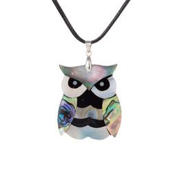 Wholesale Owl Design Necklace - New Design Cartoon Silver Plated Carved Night Owl Abalone Shell Retro Bohemian Rhinestone Pendant Brass Buckle Black Korea Wax Necklace
