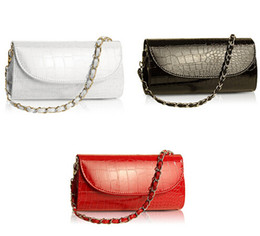 Wholesale Crocodile Wallets For Women - Wholesale-Fashion Designer Crocodile Pattern Ladies' Shoulder Chain Bag Wallet PU Leather Clutch Evening Bag Purse for Women Handbag