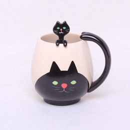 cup paintings Promo Codes - Wholesale- Hand-painted Coffee Cup,Lovely Panda Frog Cat Pig Ceramic Mug Teacup include teaspoon