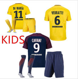 Wholesale Paris Kids - 2017 2018 kids kit+sock France Paris Rugby Wear jerseys 1718 Di Maria Matuidi Silva Ben Arfa Cavani Rugby jersey+socks