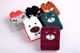 Wholesale Panda Socks - 2016 Kids High Socks Bear Dog Fox Cat Panda Striped Animals Printing Baby Boy Girl Leg Warmers Stocking Deodorize Mnlticolor Socks Q0412