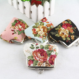 Wholesale Korean Wholesale Christmas Gift Bags - Fashion Hot Vintage flower coin purse canvas key holder wallet hasp small gifts bag clutch handbag