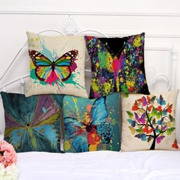 Wholesale Set Covers For Sofa Cushions - 5 Colors 45*45cm Colorful Butterfly Painting Linen Cotton Throw Pillow Case Cushion Cover For Sofa Chair Decorative Fashion Sets