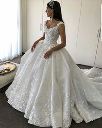 Wholesale Custom Wave Ruffles - 2017 Wedding Dresses Scoop Lace 3D-Appliqued Beaded Sleeveless Hollow V Back Puffy Ruffle Chapel Train Bridal Gowns