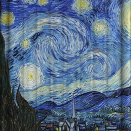 Wholesale Wholesale Curtain Draperies - Starry Sky Printing Polyester Fiber Bath Curtains Multi Function Waterproof Mildew Thickening Enlarged Edition Curtain Hot sale 30hz J R