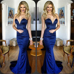 Wholesale prom dresses sweethart - Elegant Sweethart Evening Dresses 2017 Dark Navy Blue Prom Gowns Sleeveless Satin Simple Women Mermaid Long Party Gowns