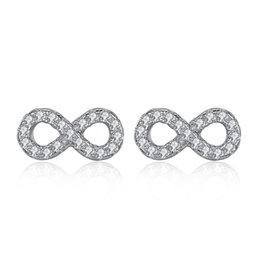Wholesale Earring Love - BELAWANG Real 925 Sterling Silver Earrings with Micro Pave CZ Crystal Infinity Stud Earrings For Women Forever Love Jewelry Wedding Gift