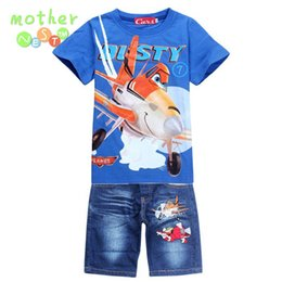 Wholesale Planes Dusty - New 2017 Retail Children Set Cartoon DUSTY PLANE fashion suit boys jeans sets t-shirt+pant 2pcs Kids Summer Clothing