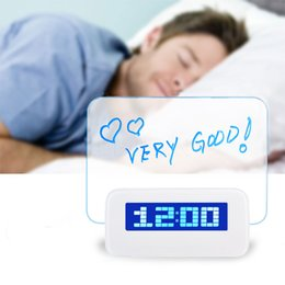 Wholesale Message Board Alarm Clock Calendar - Wholesale- LED Fluorescent Luminous Message Board Snooze Digital Alarm Clock Calendar Night Light Modem LED Alarm Despertador Desk Clock