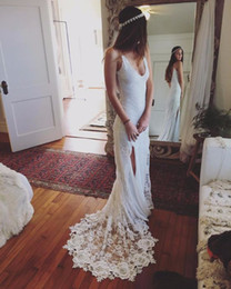 Wholesale Champagne Casual Wedding Dresses - 2017 Sexy Boho Lace Beach Wedding Dress V Neck Spaghetti Straps High Slit Casual Bohemian Wedding Dresses Backless Bridal Gowns