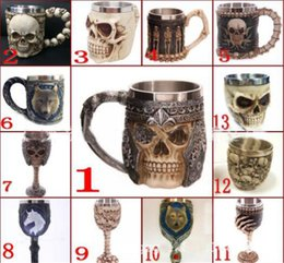 Wholesale Tankard Mug Wholesale - 3D Skull Mugs Coffee Cup 13 Styles Personalized Double Wall Stainless Steel Skull Knight Tankard Dragon Drinking Cup Tea Bottle