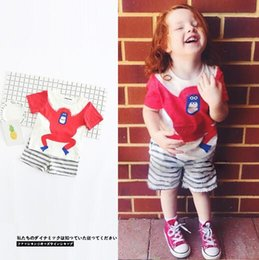 Wholesale Short Gorilla Neck - INS 2017 hot selling Europe and America style Red gorilla cute Cartoon painting T-shirt 100% cotton boys girls Summer Striped shorts two set