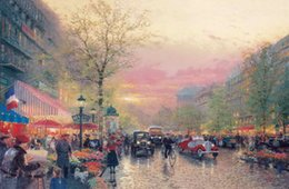 Wholesale City Single - Paris City Of Lights Thomas Kinkade Oil Paintings Art Wall Modern HD Print On Canvas Decoration No Frame