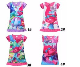 Wholesale 2017 summer girls dresses pjms styles trolls moana Cartoon kids pajamas polyester nightgowns sleepwear clothes