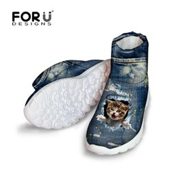 Wholesale B Pets - Wholesale-FORUDESIGNS Vintage Denim Cute Pet Cat Printed Women Winter Boots 2016 Fashion Female Snow Ankle Boots Blue Jeans High Top Shoes