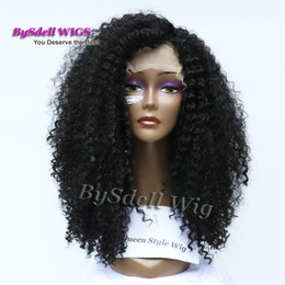 Wholesale Kinky Curly Synthetic Lace Front - New Arrival African Kinky Curly Hairstyle Front Lace Wig Synthetic Black Color Afro Kinky Curl Lace Front Wigs for Black Woman