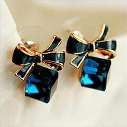 Wholesale Cube Bow Earrings - New jewelry Shimmer Chic fashion Gold Bowknot Cube Crystal Earring Rose Gold Square bow Stud Earrings for Women