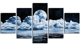 Wholesale moon canvas wall art - 5pcs set White Partly cloudy Moon in the Night Landscape Abstract Canvas Print Painting Modern Canvas Wall Art for Home Decoration