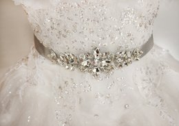Wholesale Tops Rhinestone Girls - Wholesale Top Crystals Beaded Wedding Dress Belts Wedding Accessories White Ivory Long Satin Hand Made Bridal Sashes Belts For Bridal 2017