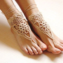Wholesale Trendy Yoga Wear - Crochet White Barefoot Sandals Nude Shoes Foot Jewelry Beach Wear Yoga Shoes Bridal Anklet Bridal Beach Accessories White Lace Sandels