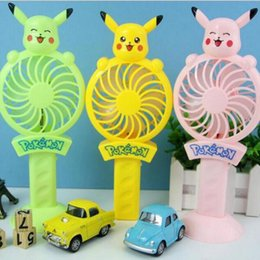 Wholesale Cooling Fans Ac - Pikachu Mini Protable Fan USB Handle Mini Charging Electric Fans Handheld Portable For Home Office Gifts