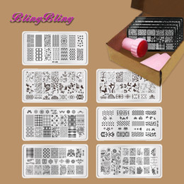 Wholesale Laced Nail Stamp Designs - Wholesale- 7pcs DIY Manicure Template Nail Stamp Plates Image Nails Art Design Stamping Plate Scraper Stamper Kits Lace Floral Butterfly