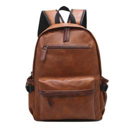 Wholesale Multifunctional Backpack Male - Wholesale- men multifunctional PU leather backpack fashion male Schoolbag black travel waterproof rucksack women laptop backpack Unisex