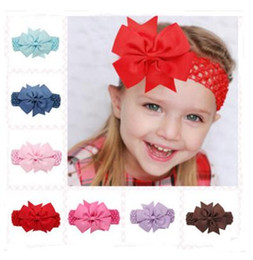 Wholesale Silver Butterfly Headband - 20 Colors Baby Big Lace Bow Headbands Girls Cute Bow Hair Band Infant Lovely Headwrap Children Bowknot Elastic Accessories Butterfly Hair 20
