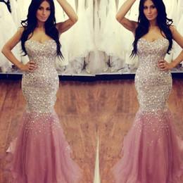 Wholesale Sequin Ruched Rhinestone Prom Dress - Sexy Sleeveless Sweetheart Pink Mermaid Prom Dresses Long Sweep Train Beaded Crystal Rhinestone Vestido De Festa For Women