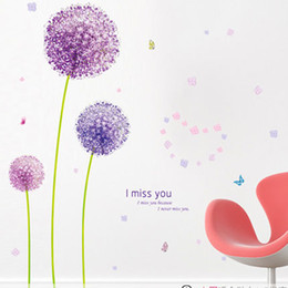 Wholesale purple wall stickers - Cartoon Purple Dandelion Plant Wall Stickers for Kids Rooms Living Room Home Decor Wall Decor Mural Art