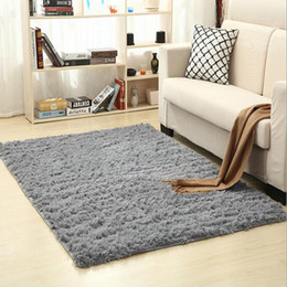 Wholesale bedroom mats - Non-slip Carpet Fluffy Rugs Anti-Skid Shaggy Area Rug Dining Room Home Bedroom Carpet Living Room Carpets Floor Yoga Mat Free Shipping