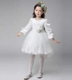 Wholesale Tailored Girls Dresses - girls derss white princess dress of the flower girl dress is tailored contracted soft Pageant Dresses Tulle Ruffled princess dress fairy
