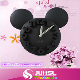Wholesale Cartoon Wall Clocks - Wholesale- Cute multicolor cartoon three-dimensional digital wall clock for children's bedroom home decoration