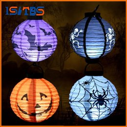 Wholesale Christmas Decoration Paper Stars - Party Paper Lanterns Holiday Lighting Halloween Decoration LED Hanging Props Paper Pumpkin Bat Spider Light Holiday Light