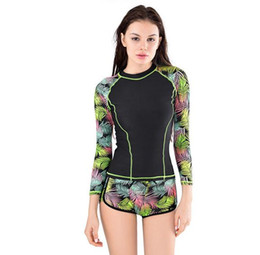Wholesale T Shirt Guard - Fashion Women's rash Swimwear Ladies long sleeve high elasticity t-shirts with board shorts sexy bikini AL035