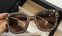 Wholesale Titanium Black Stone - women Havana Square-frame star stud stone sunglasses 0116S Designer Brand Sunglasses 2017 New with Box
