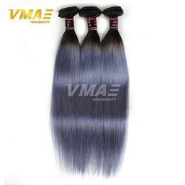 Wholesale Brazilan Hair - 1B gray Straight Brazilan Human Hair Extensions Ombre Color Virgin Human Hair 8A Brazilian Virgin Human Hair 8-30 inches Free Shipping