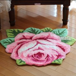 Wholesale Handmade Rugs Carpets - Free shipping good quality handmade rose art carpet art rug floor mat for bedroom  Living room romantic rose 580mmx750mm
