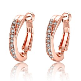 Wholesale Tungsten Hoop Earrings - Circle Basic Earrings Diamonds Simulation Rose Gold Simple Shiny Female Ear Buckle Fashion Wild Shopping Anti-allergic Ear Jewelry