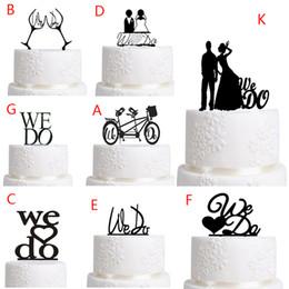 Wholesale Wedding Topper Silhouette - Topper cake Wedding Decoration Black Acrylic Cake Topper Wedding Decoration Supplies Favor Propose Acrylic Silhouette