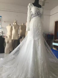Wholesale Red Long Tailed Skirt - Real Picture 2017 Applique Lace Mermaid Wedding Dresses Halter Straps Long Sleeves Beach Sexy Tailing Plus Size High Quality Wedding Gowns