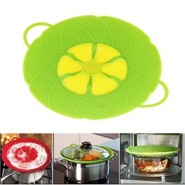 Wholesale Eco Ceramic Cookware - Multi-function lid Spill Stopper Silicone Cover Cooking Tools Flower Cookware Parts Green Silicone Boil Over Spill lid Stopper Oven Sa wn014