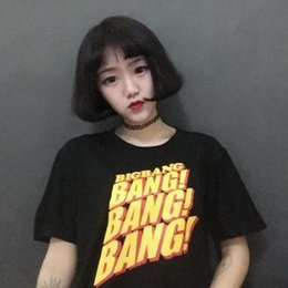 Wholesale K Pop Fashion - 2017 Summer K-pop Fashion BangBangBang Printed T-shirt Women Men Couples Dress Street Hiphop Style Short sleeve Black Tops Tee