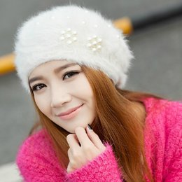 Wholesale Low Priced Knitted Hats - Wholesale-New Style Boina Feminina Women Pearl Beret Hats Rabbit Hair Knitted Female Berets Winter Warm Cap free shipping lowest price