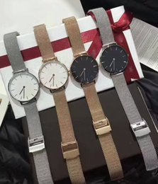 Wholesale Hooks For Straps - 2017 Brand 4 colors Classic watch Luxury Watch For Men Women Stainles steel Strap Military Quartz Wristwatch (Replica D&W Watches) DHL free