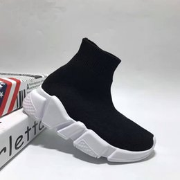 Wholesale Socks Child Shoes - Children Athletic Shoes Baby Slip-On Casual Flats Shoes Speed Trainer High-Top Running Shoes Fashion Kids Socks Boots Black Grey Blue Red